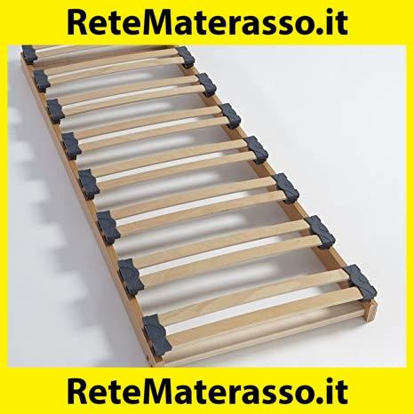 Marcapiuma 4 Piedi Legno massello di Faggio Rete a Doghe Manuale Singola 80x190 Alta 35 cm Modello S.A 100/% Made in Italy Ortopedica in Legno di Faggio Naturale resinato e Multistrato